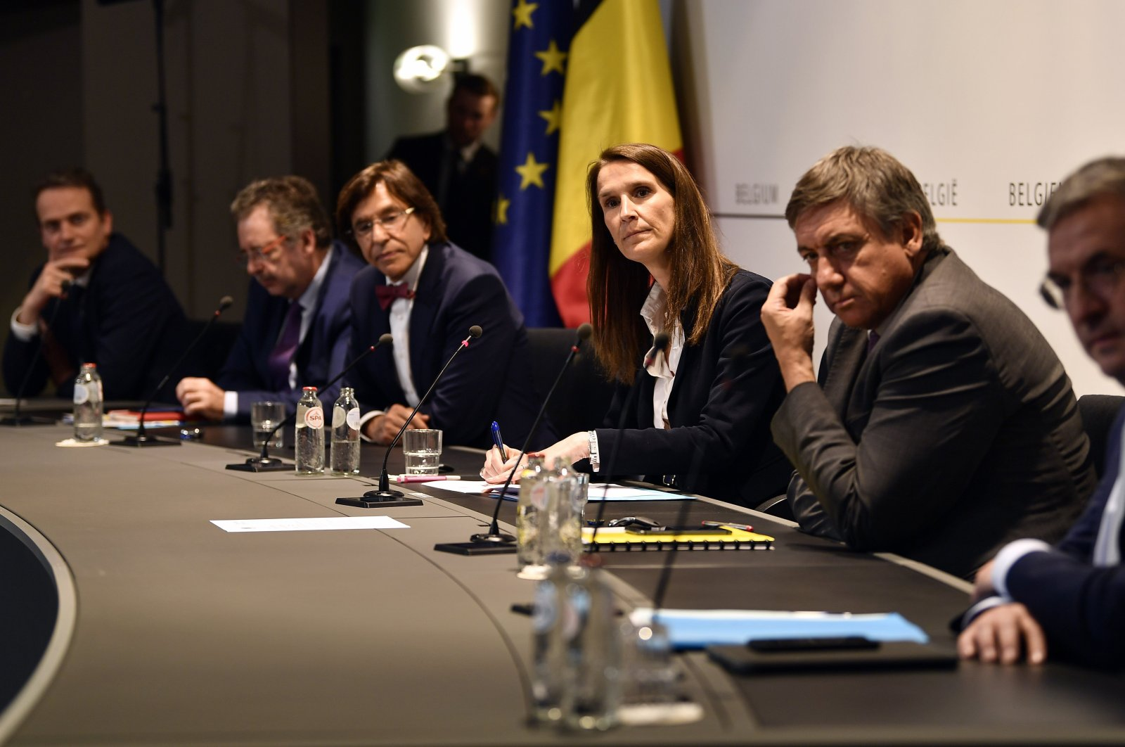 Belgium's Prime Minister Sophie Wilmes, third right, speaks during a media conference, amid the coronavirus outbreak in Brussels, May 13, 2020. (AP Photo)