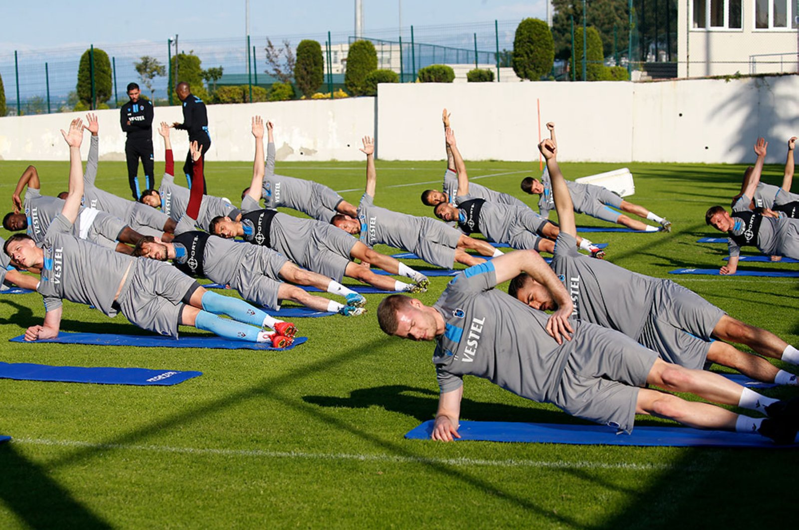 The current leader of the Super League Trabzonspor makes training as the league is expected to resume next month, May 12, 2020. (AA)