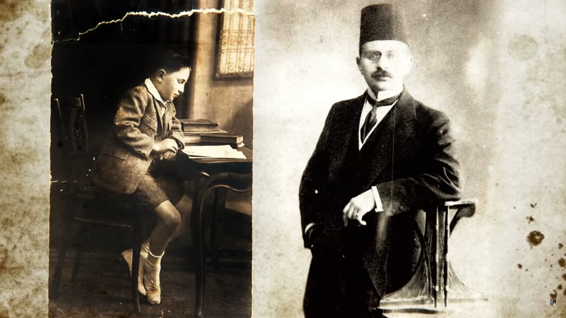 A still from the 'Ve Perde!' documentary shows Haldun Taner (L) and his father Selahaddin Bey's photos.