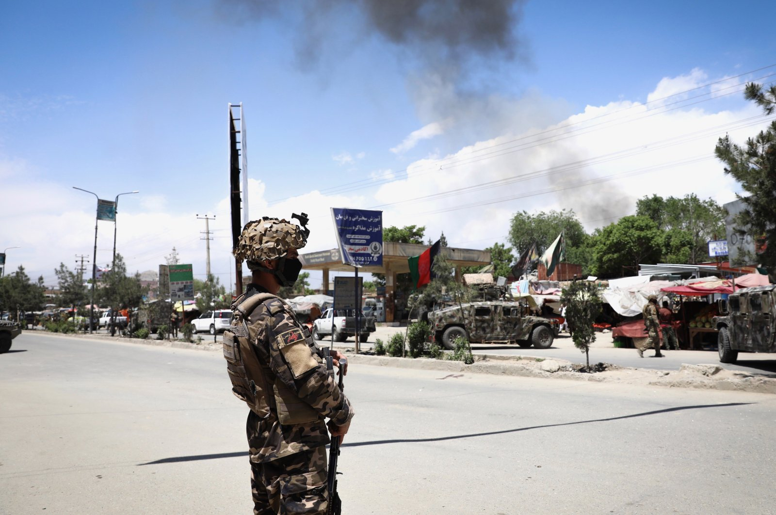 An Afghan soldier stands guard near the scene of an attack at an MSF (Doctors without Borders) clinic in Kabul, Afghanistan, May 12, 2020. (EPA Photo)