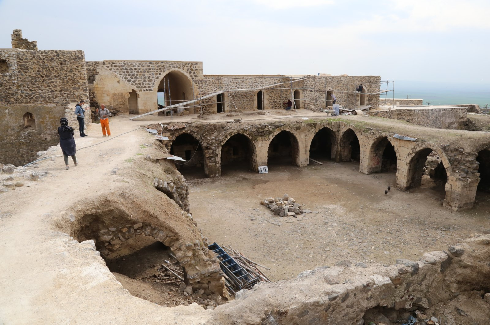 A general view from the ongoing restoration work at the Mor Kuryakos Monastery, Batman province, Turkey. (AA Photo)