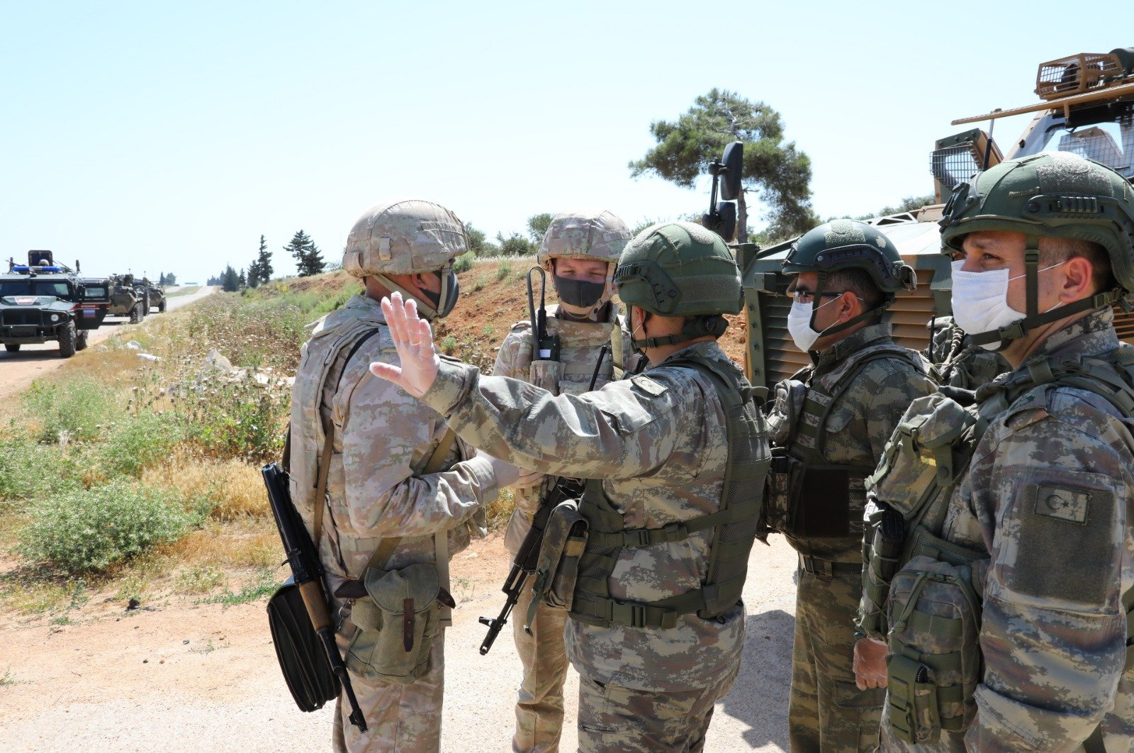 Turkey and Russia conducted their 11th joint land patrol along the key M4 highway in northwestern Syria's Idlib, May 14, 2020. (AA)