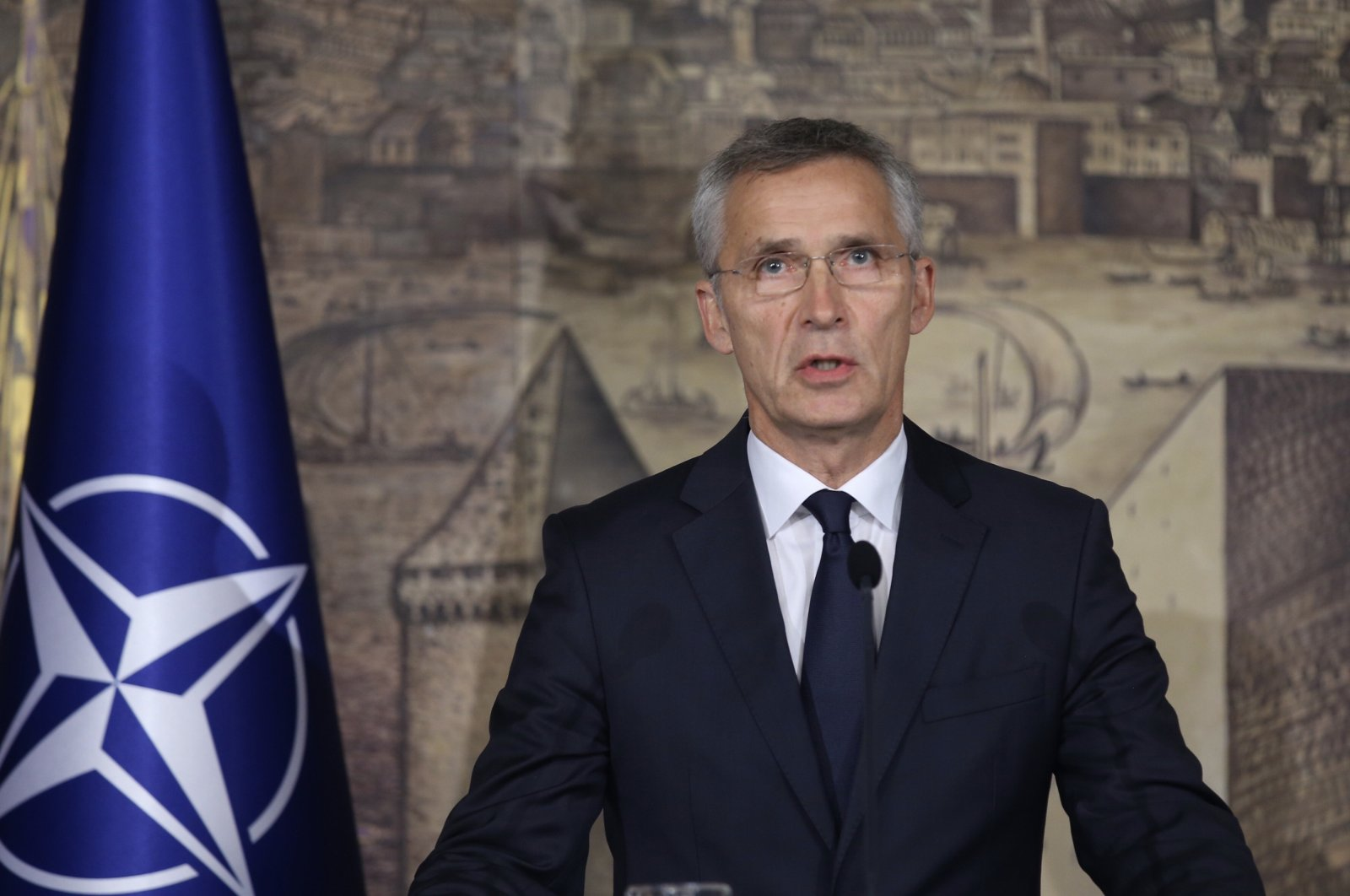 This handout photo released by the Turkish Foreign Ministry shows NATO Secretary-General Jens Stoltenberg holding a joint news conference after a meeting with Turkish Foreign Minister Mevlüt Çavuşoğlu at Dolmabahçe Palace in Istanbul, Turkey, Oct. 11, 2019. (AFP Photo)