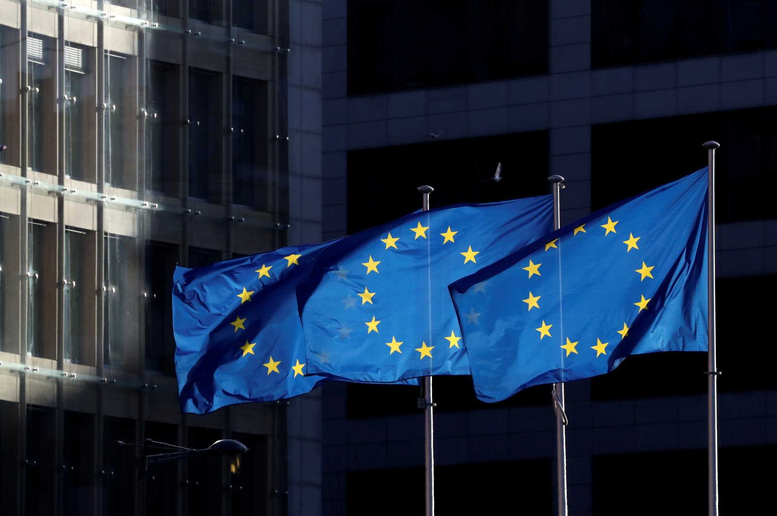 European Union flags fly outside the European Commission headquarters in Brussels, Belgium, Dec. 12, 2019. (Reuters Photo)