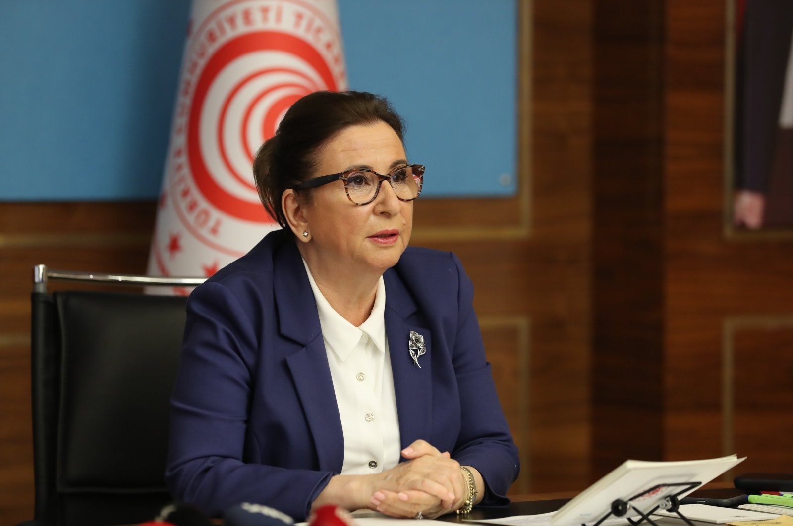 Turkey's Trade Minister Ruhsar Pekcan in a videoconference with EU countries' ambassadors, May 14, 2020. (AA Photo)