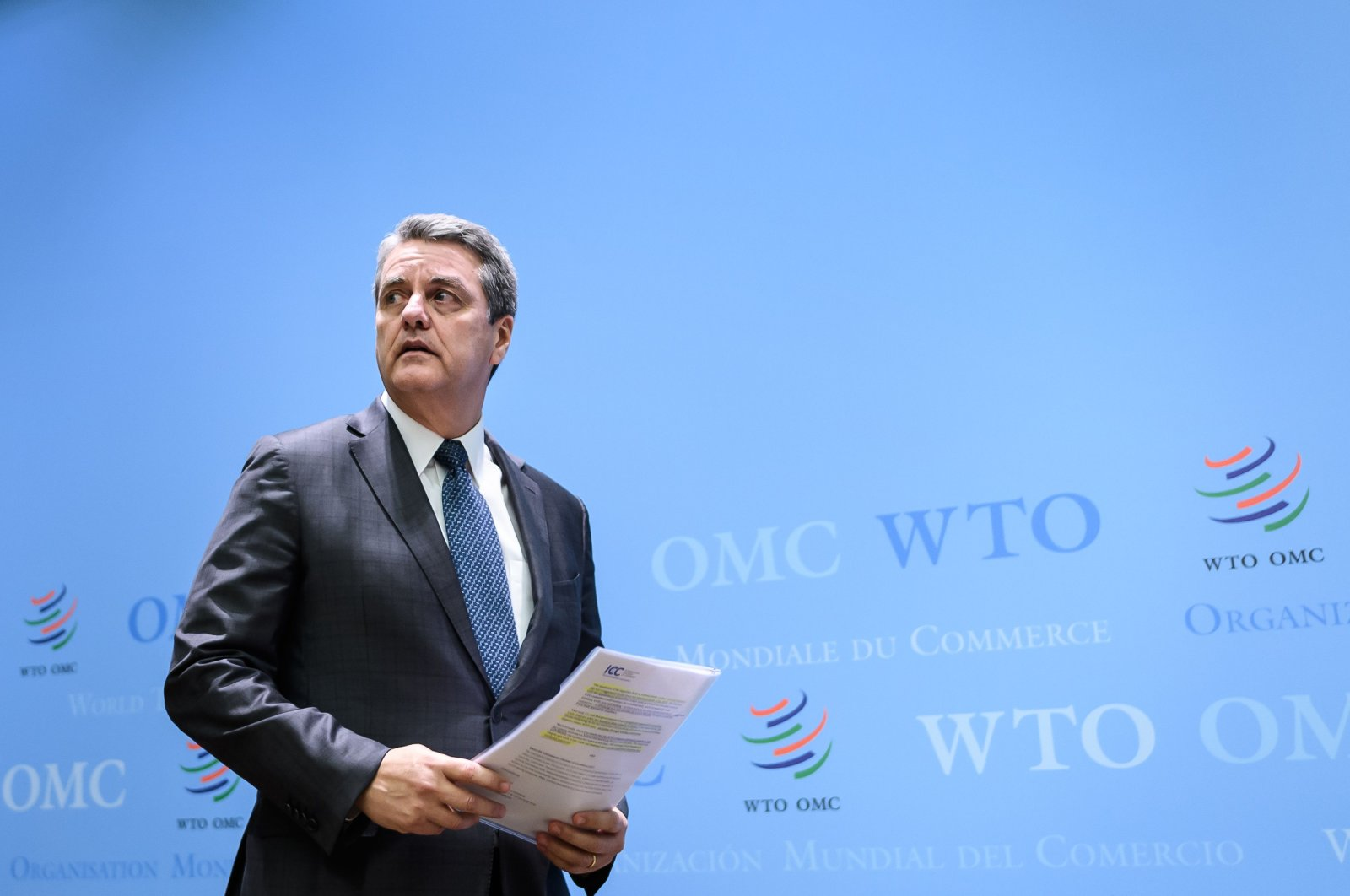 World Trade Organization (WTO) Director General Roberto Azevedo arrives to address a press conference following a WTO general council meeting, Geneva, Dec. 10, 2019. (AFP Photo)