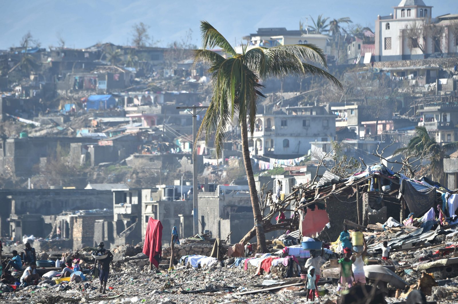 Areas of Jeremie, Haiti, destroyed by Hurricane Matthew are seen on Oct. 8, 2016. (AFP Photo)