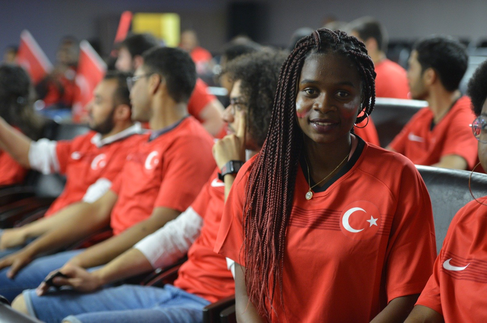 An international student taking courses in Turkey on a scholarship poses during a YTB activity. (Courtesy of YTB)