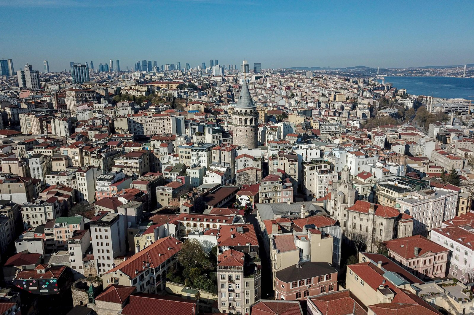 An aerial picture shows the Galata Tower in Istanbul during the coronavirus pandemic, April 18, 2020. (AFP Photo)