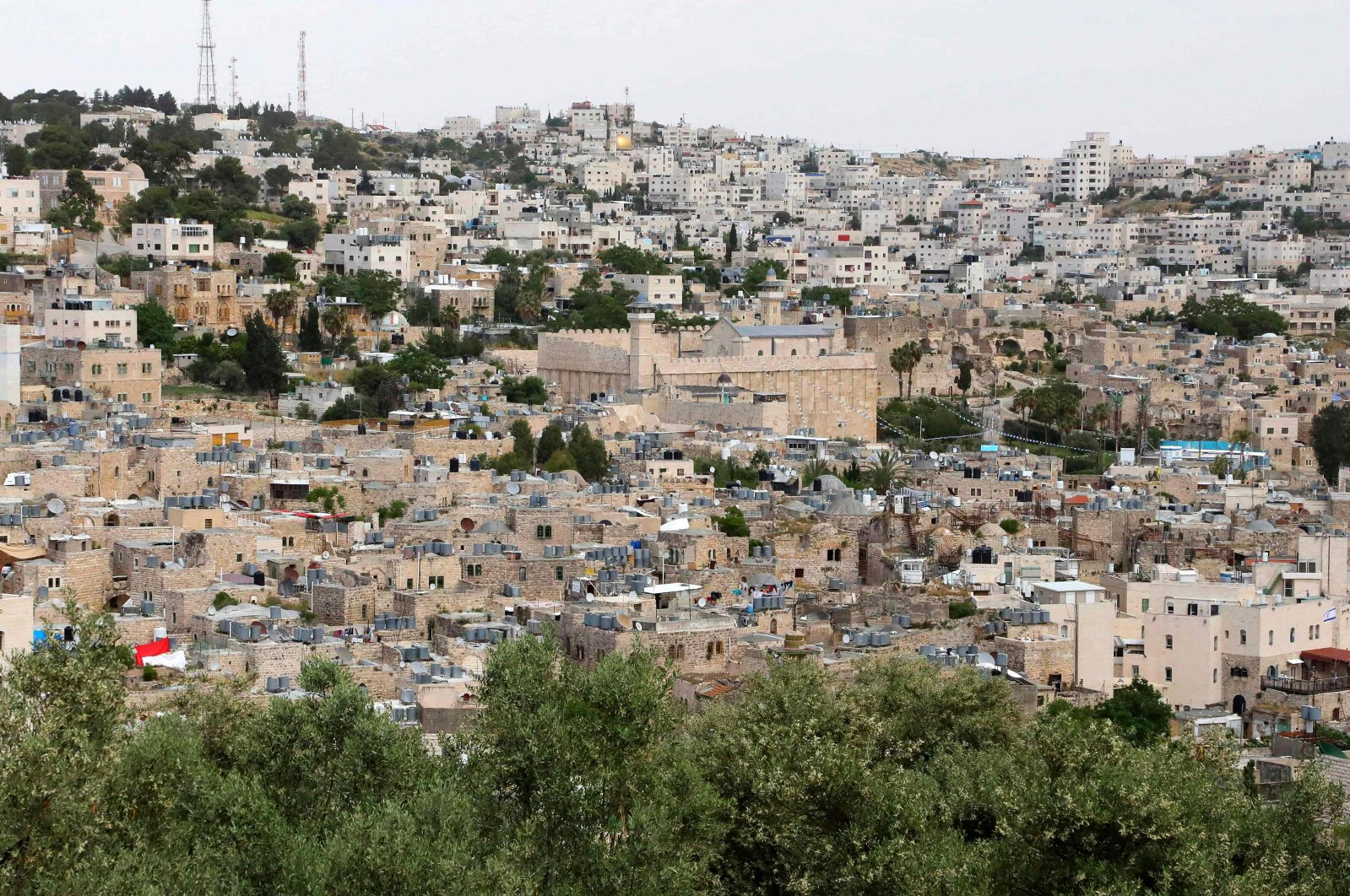 A general view of the Old City of Hebron with the Ibrahimi mosque, or the Tomb of the Patriarchs, closed down during the coronavirus pandemic crisis, occupied West Bank, on May 15, 2020. (AFP Photo)