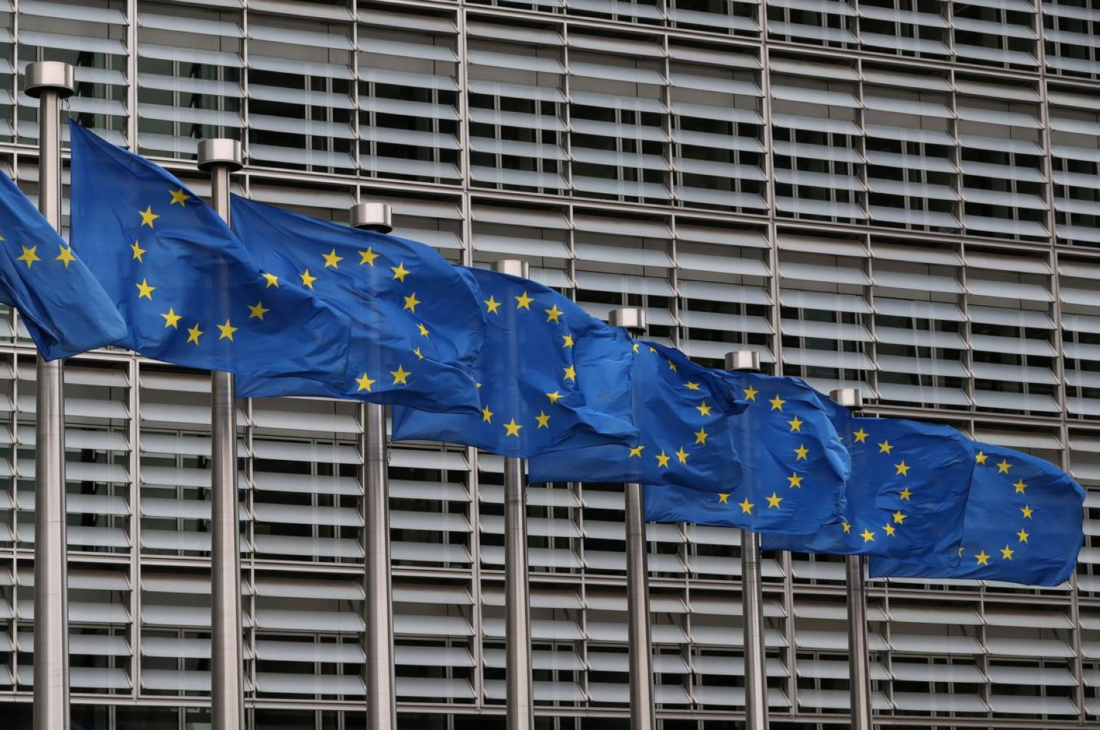 European Union flags fly near the European Commission headquarters in Brussels, Belgium, Oct. 4, 2019. (Reuters Photo)