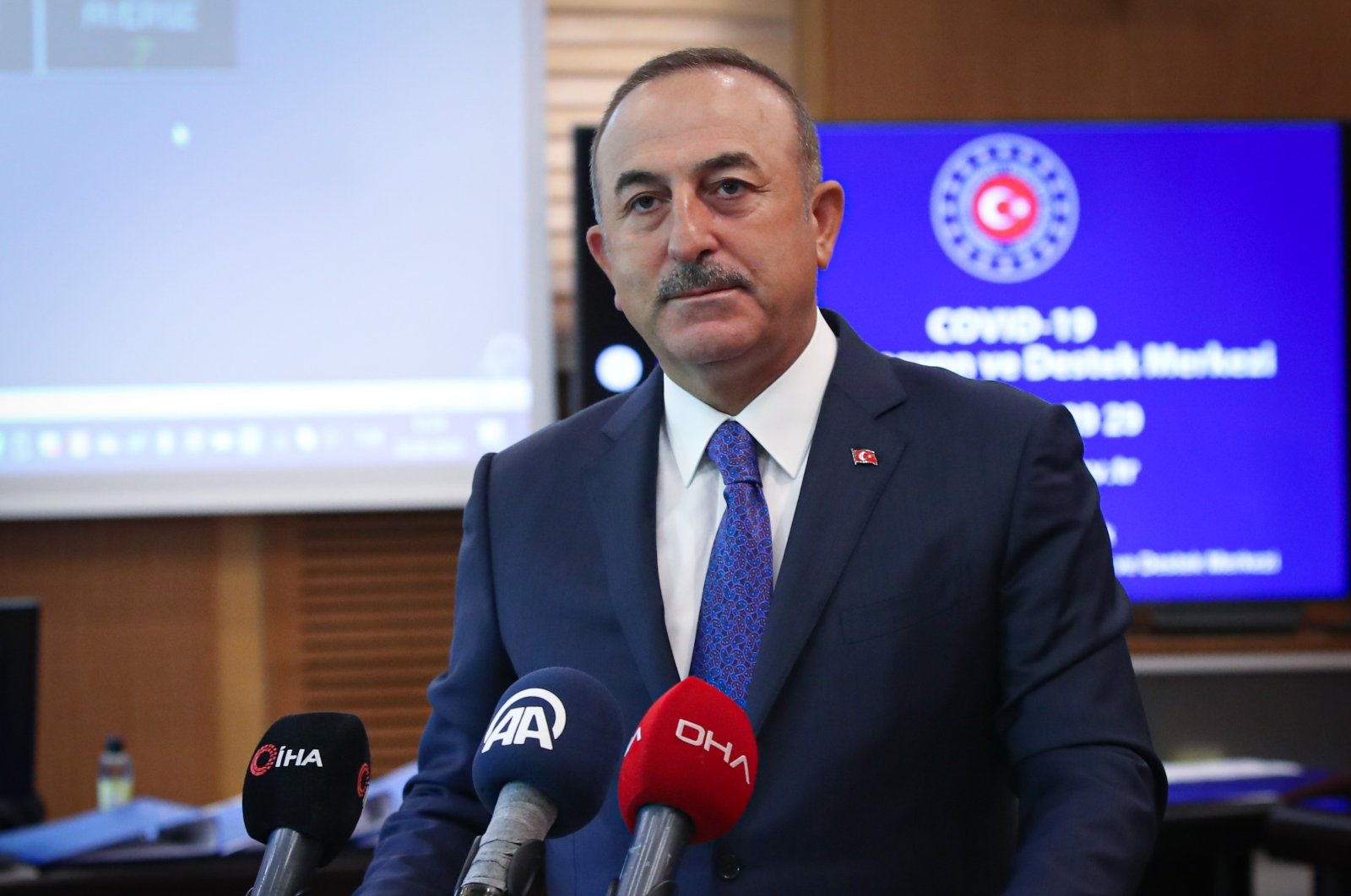 Foreign Minister Çavuşoğlu during a press conference in Ankara, May 12, 2020. (AA Photo)