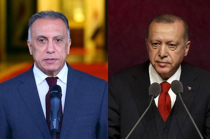 Iraqi PM al-Kadhimi (L) and President Erdoğan