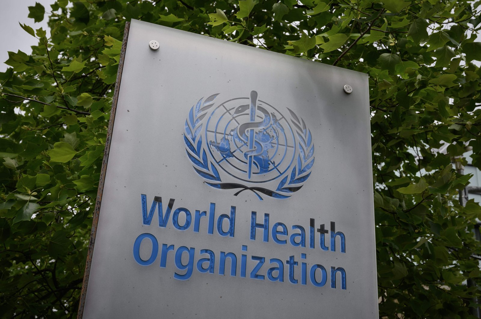A sign of the World Health Organization (WHO) seen at its headquarters in Geneva, May 12, 2020. (AFP Photo)