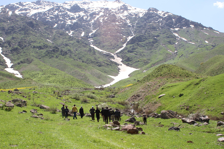 Locals walk in a plateau cleared of the PKK terrorist elements, Hakkari, May 17, 2020. (AA)