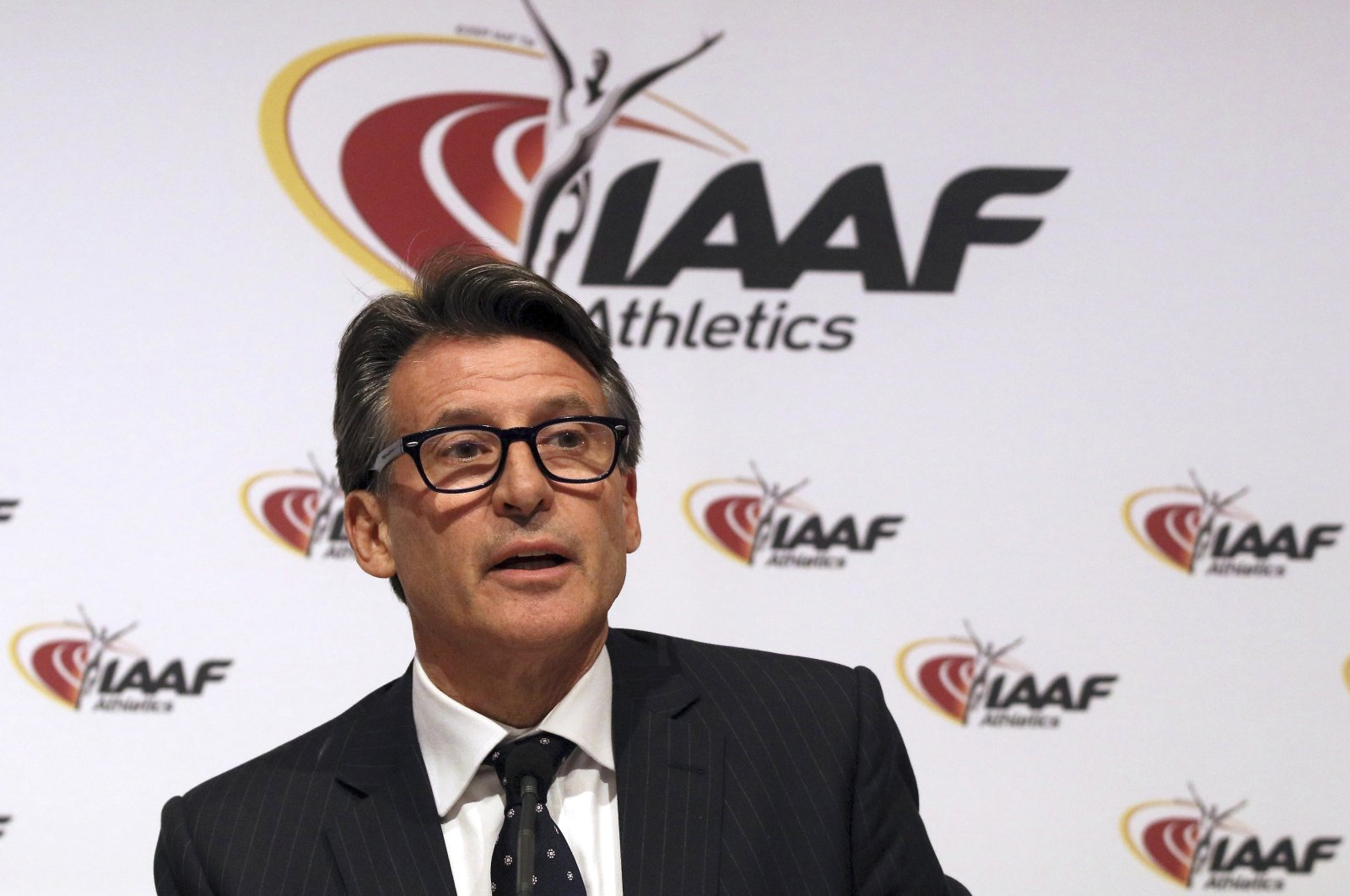 Sebastian Coe speaks during a news conference after a meeting of the International Association Athletics Federations (IAAF) Council at the Grand Hotel in Vienna, Austria, June 17, 2016. (AP Photo)