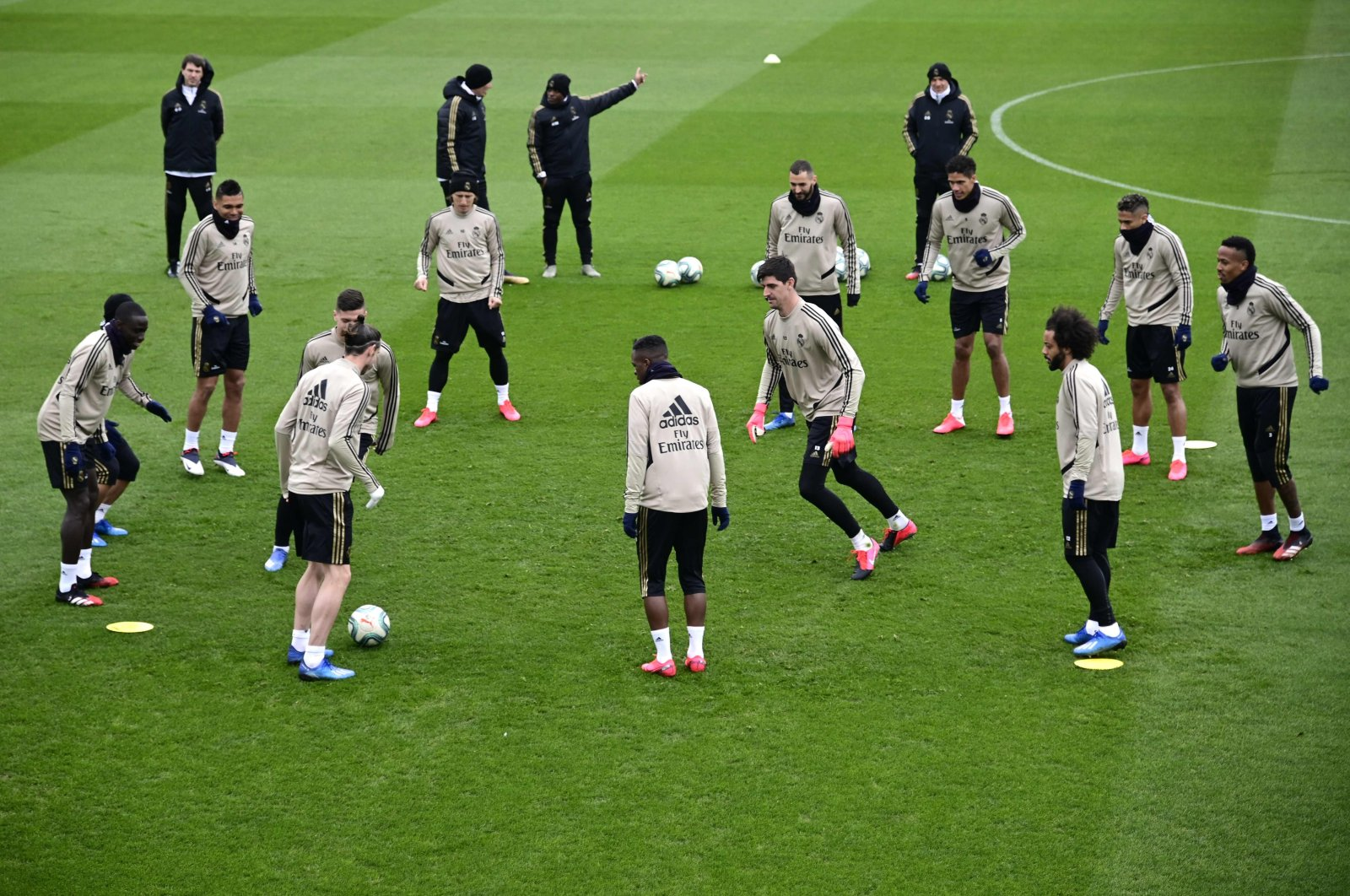 In this file photo taken on February 29, 2020 Real Madrid's players take part in a training session at the club's training ground in Valdebebas in the outskirts of Madrid on February 29, 2020. (AFP Photo)