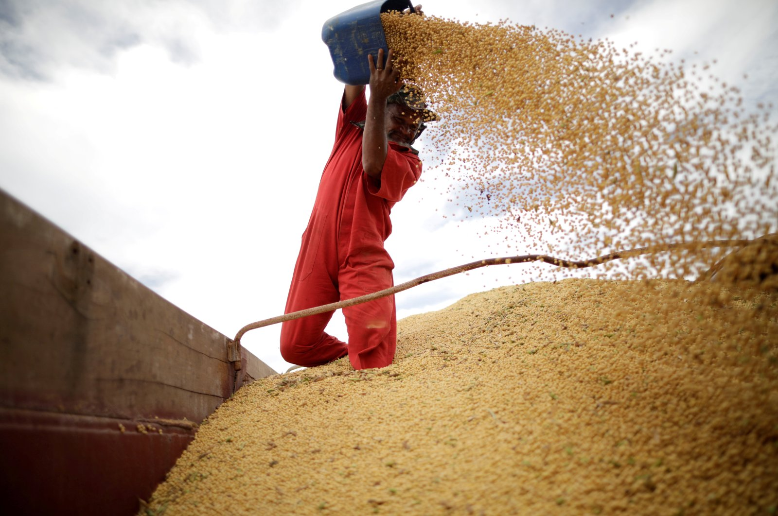 A worker inspects soybeans during the soy harvest near the town of Campos Lindos, Brazil, Feb. 18, 2018. (Reuters Photo)