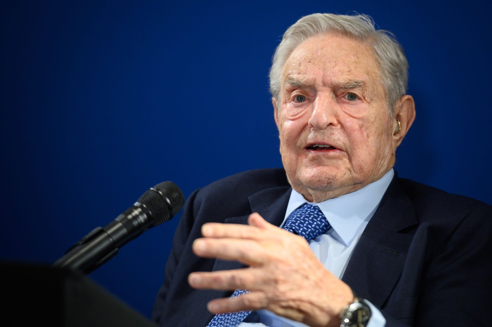 U.S. investor and philanthropist George Soros delivers a speech on the sideline of the World Economic Forum's (WEF) annual meeting in Davos, Switzerland, Jan. 23, 2020. (AFP Photo)