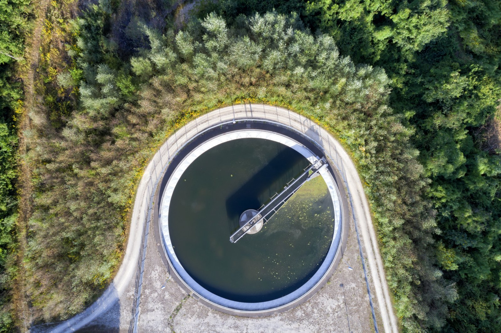 An aerial view of a sewage treatment plant in Bavaria, Germany. (iStock Photo)