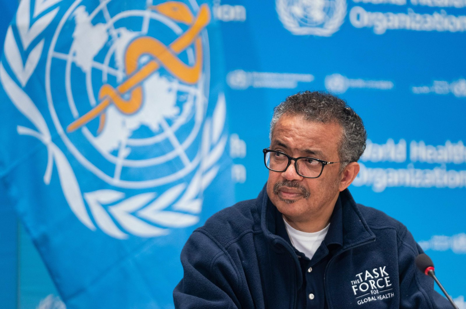 This handout image provided by the World Health Organization (WHO) shows WHO Director-General Tedros Adhanom Ghebreyesus ata virtual press conferencefollowing thesigning of a cooperation agreement with theInternational Olympic Committee (IOC),Geneva,May 16, 2020. (Photo by Christopher Black / World Health Organization via AFP Photo)