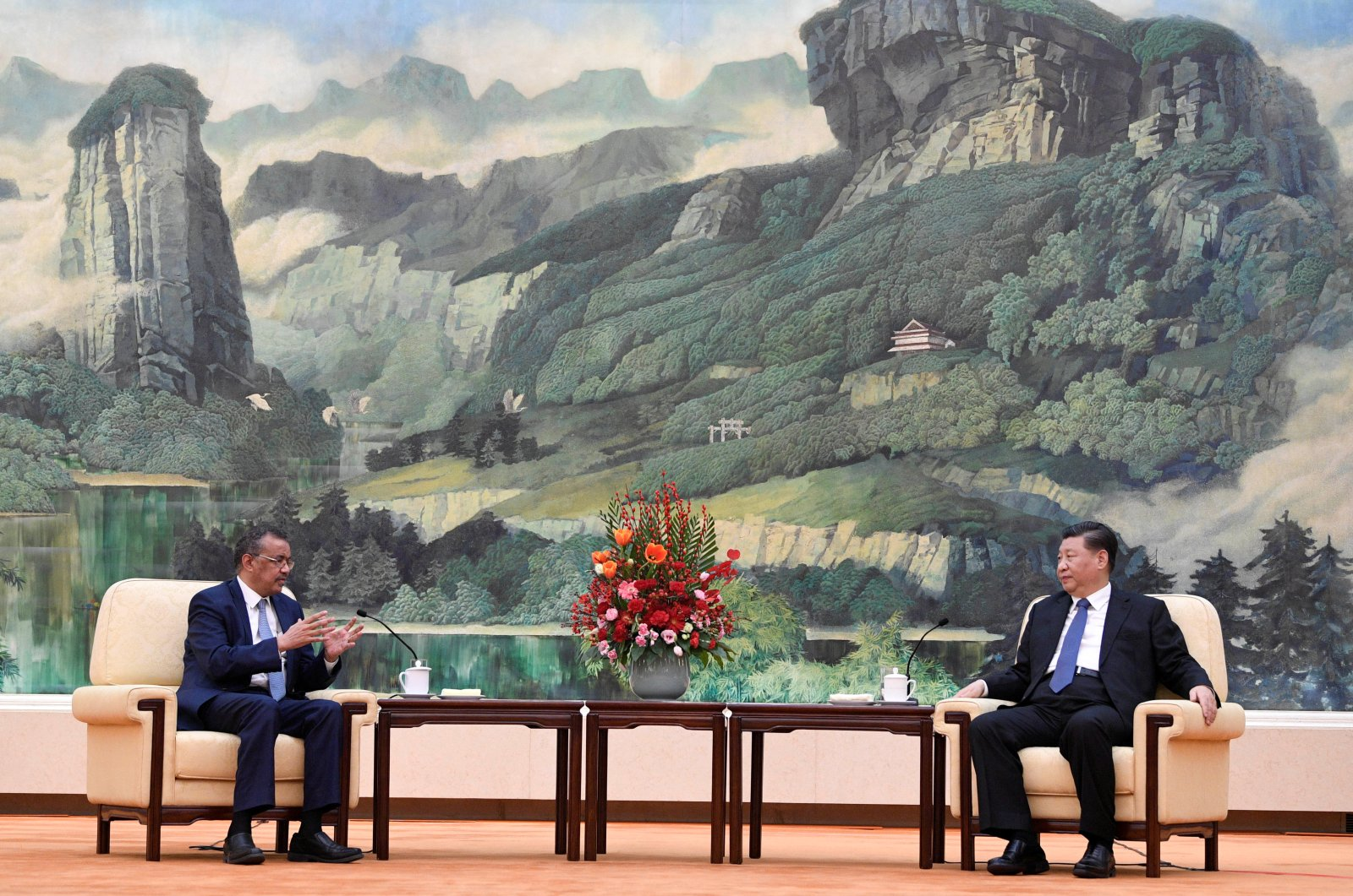Tedros Adhanom (L), director-general of the World Health Organization, meets with Chinese President Xi Jinping before a meeting at the Great Hall of the People in Beijing, China, Jan. 28, 2020. (Reuters Photo)