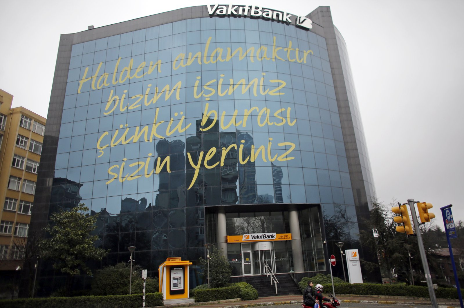 The headquarters of state-run bank Vakifbank is seen in Istanbul. (Reuters Photo)