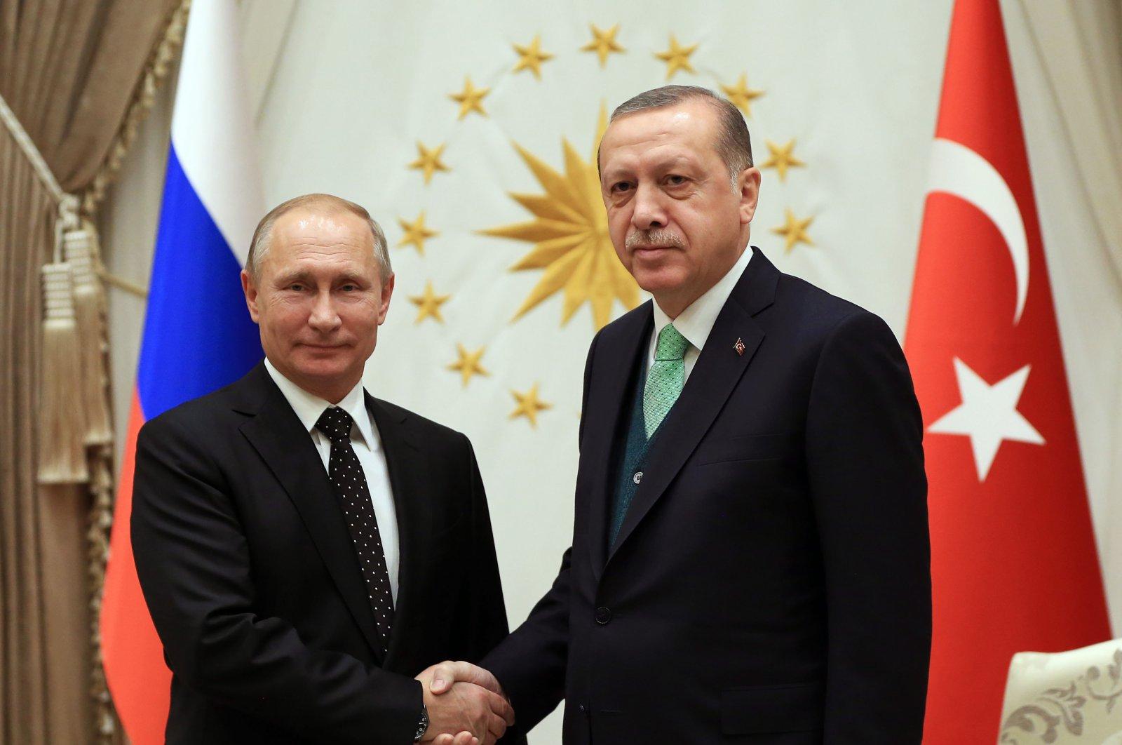 Presidents Erdoğan and Putin during a meeting in the Presidential Complex, Ankara, Turkey, Nov. 12, 2017. (AA File Photo)