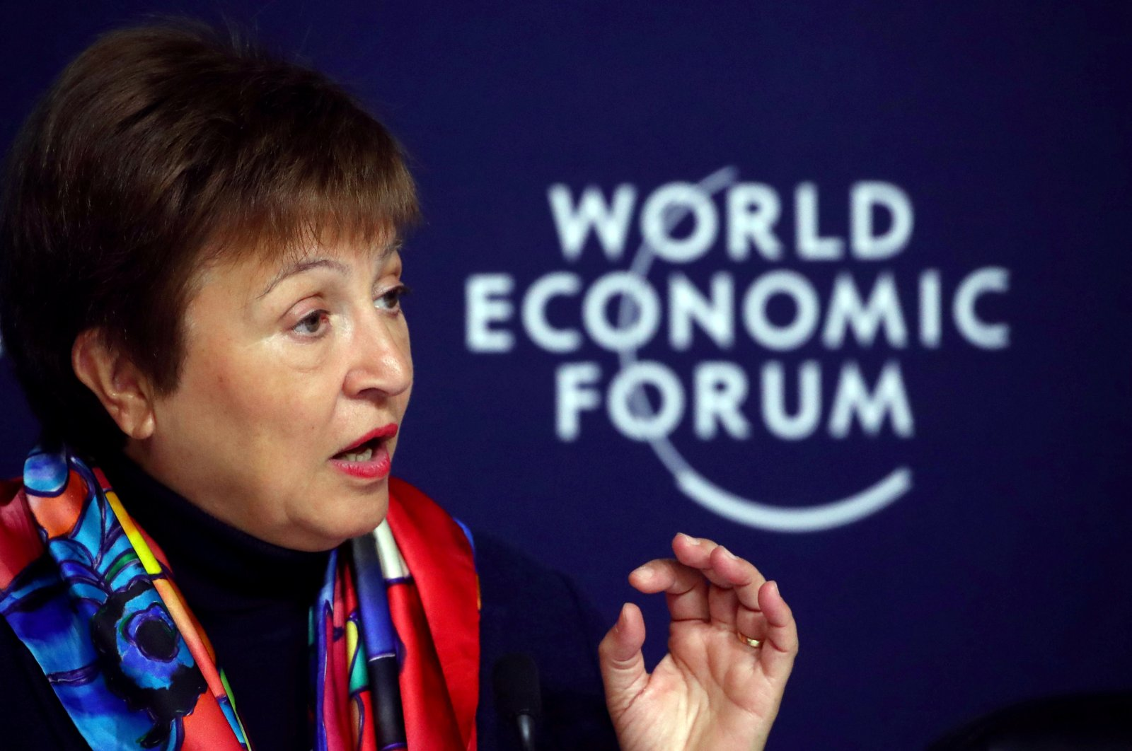 IMFManaging Director Kristalina Georgievaattends a news conference ahead of the World Economic Forum (WEF) in Davos, Switzerland January 20, 2020. (REUTERS Photo)