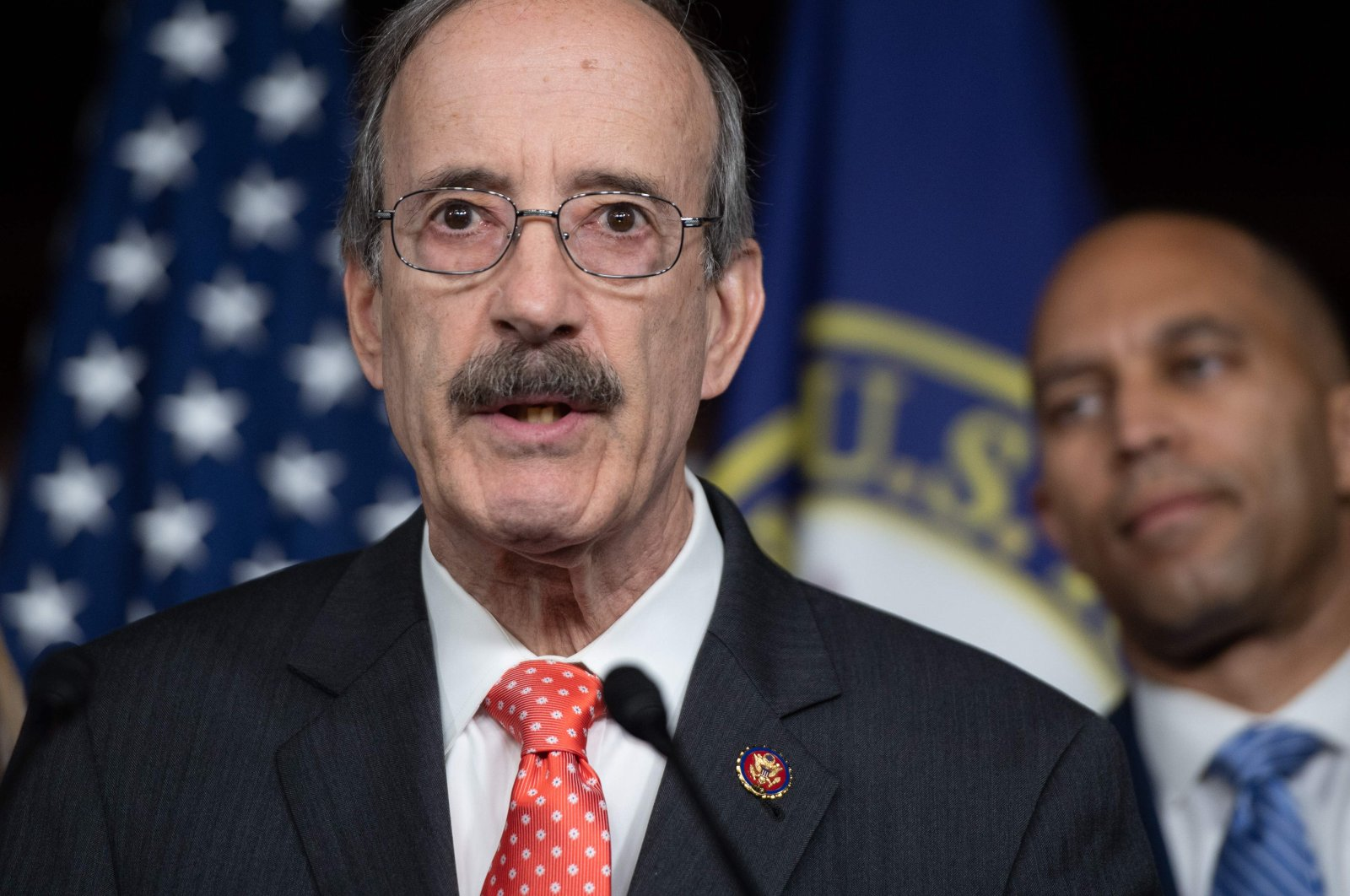 In this file photo from May 18, 2020, Representative Eliot Engel, Democrat for California, speaks during a press conference on Capitol Hill in Washington. Engel claims the State Department watchdog abruptly fired by President Donald Trump was probing his controversial bypassing of Congress to sell weapons to Saudi Arabia, Washington D.C.