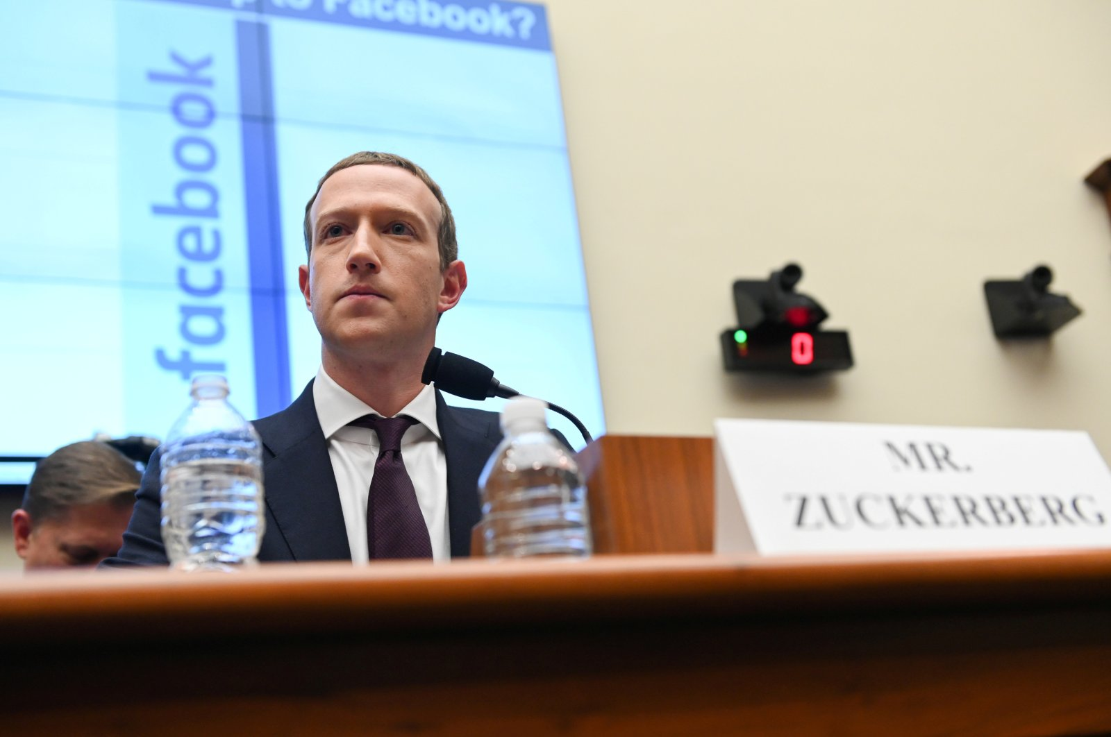 Facebook Chairman and CEO Mark Zuckerberg testifies at a House Financial Services Committee hearing in Washington, Oct. 23, 2019. (Reuters Photo)