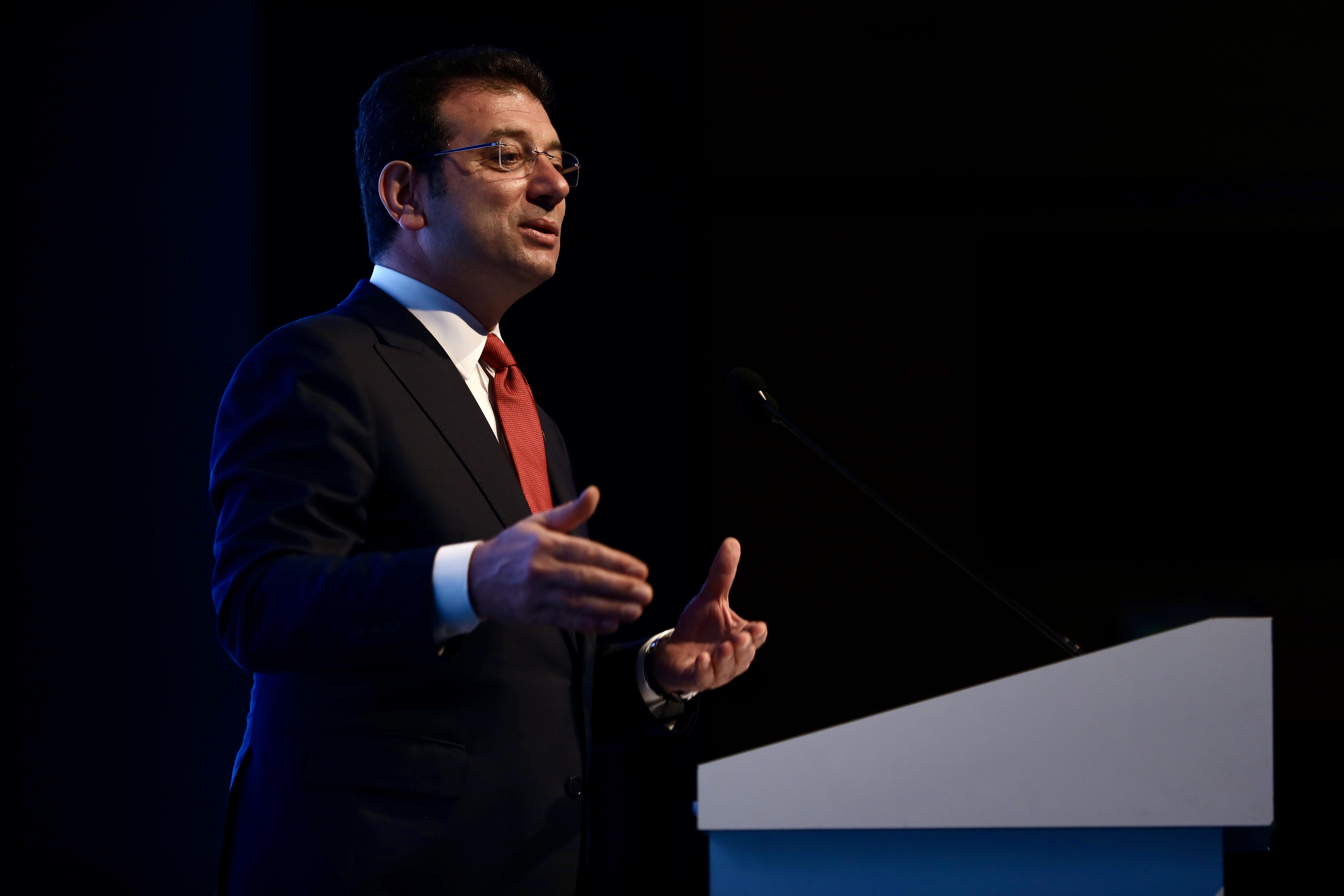 Ekrem Imamoğlu, mayor of Istanbul, speaks at the opening ceremony of an agency in Istanbul, Turkey. (Reuters File Photo)