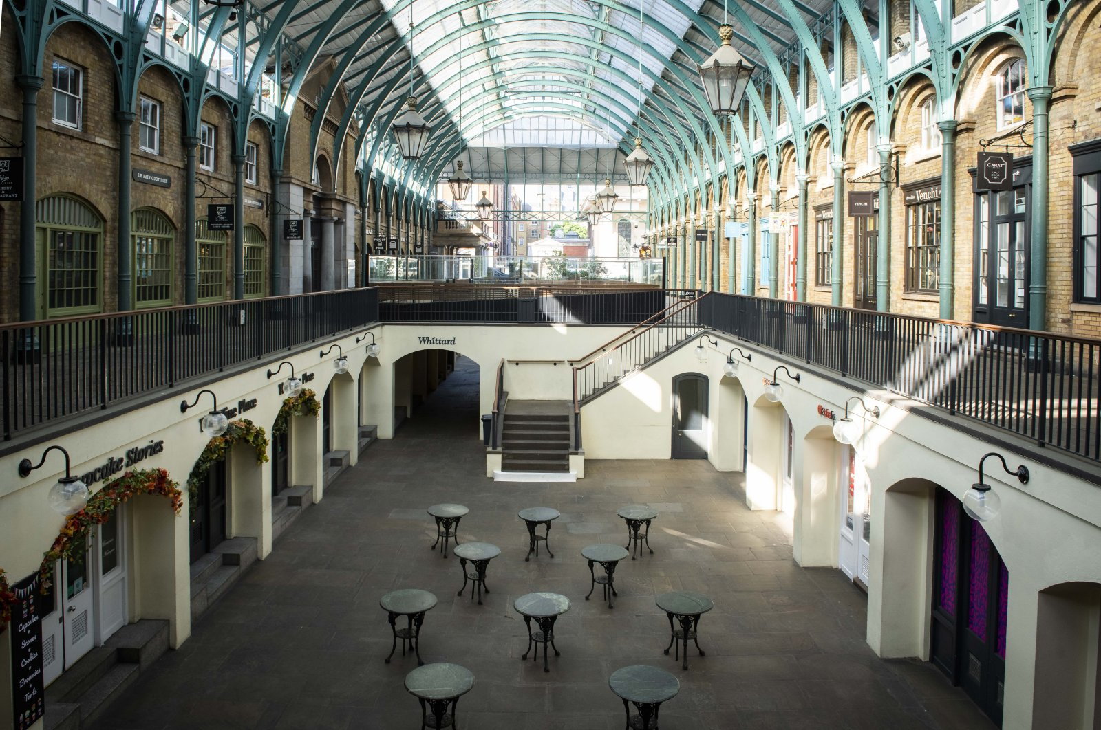 An empty Covent Garden during the coronavirus outbreak, London, England, May 9, 2020. (Reuters Photo)