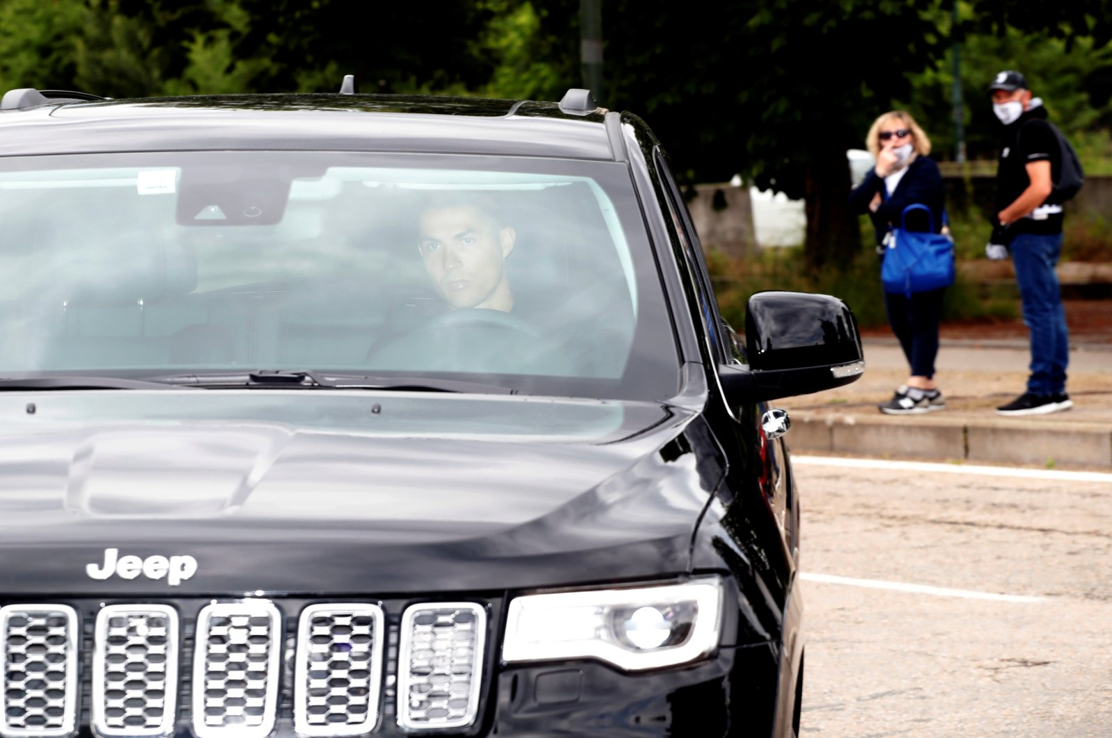 Cristiano Ronaldo arrives at Juventus Training Center, in Turin, Italy, May 19, 2020. (REUTERS Photo)