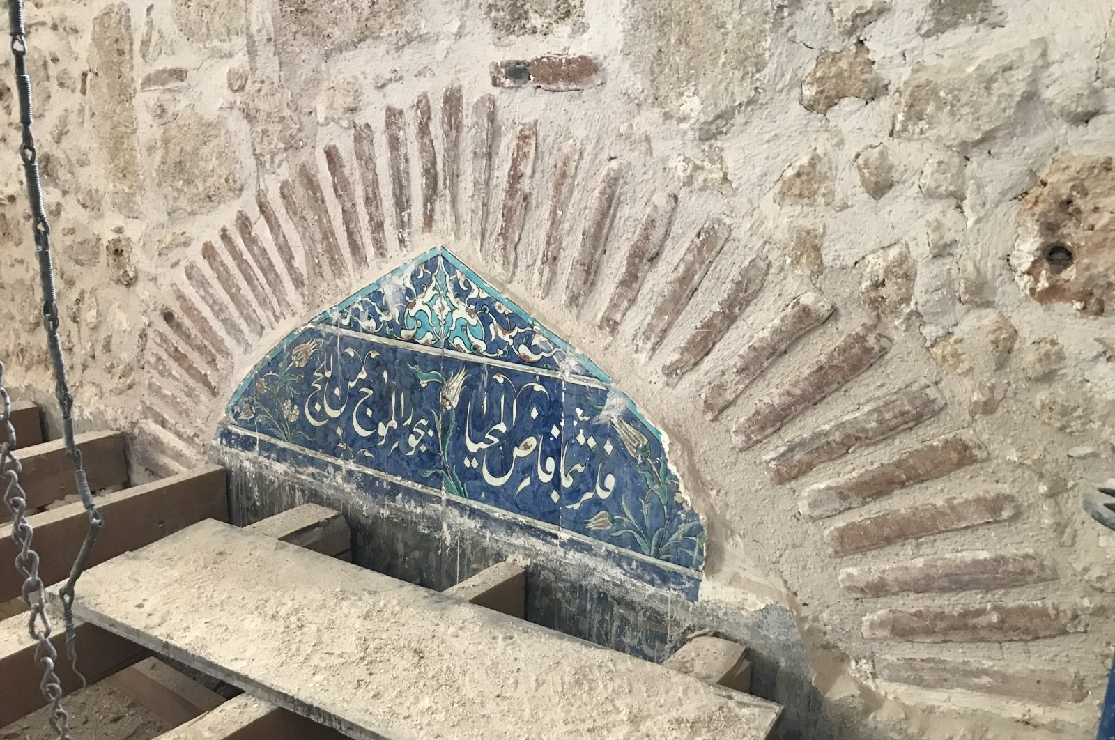 Two tile pediments were found during the restoration work at the Tekeli Mehmet Pasha Mosque, Antalya, Turkey. (AA Photo)