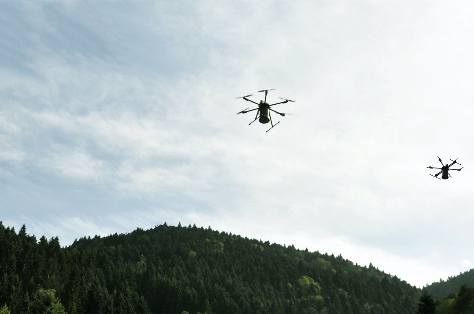 Drones developed by Ecording team assist in forestation activities in this undated photo. (AA Photo)