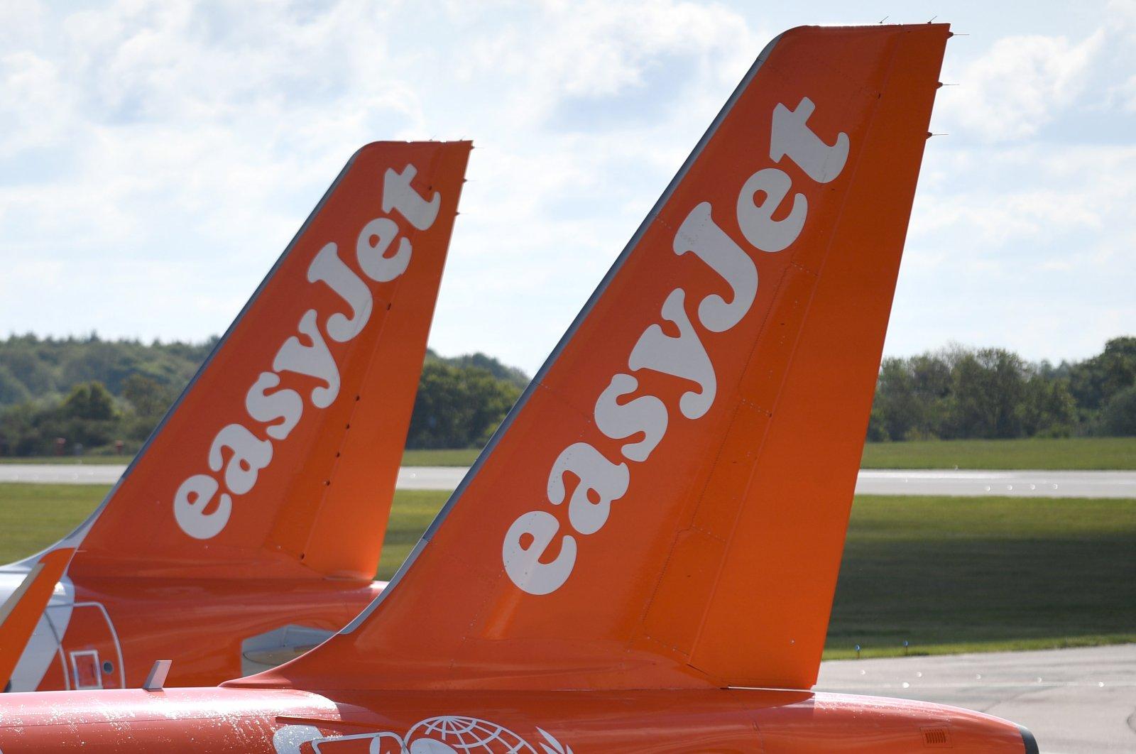 EasyJet aircraft seen parked at Luton Airport, London, England, May 2, 2020. (EPA Photo)