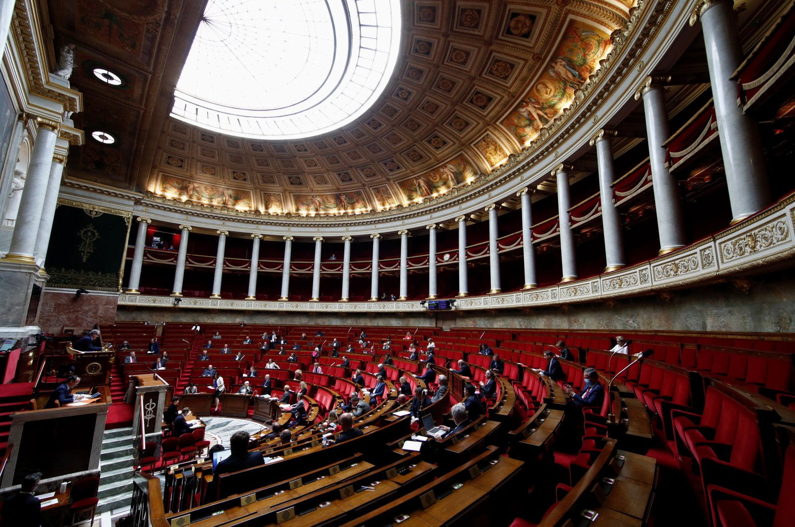 Lawmakers attend a question time at the French parliament in Paris, France, May 12, 2020. (EPA Photo)