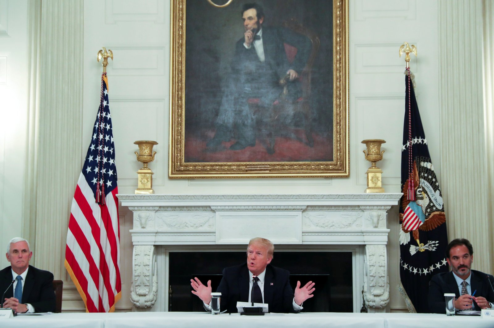 U.S. President Donald Trump talks about taking daily doses of hydroxychloroquine in the State Dining Room at the White House, Washington, D.C., U.S., May 18, 2020. (Reuters Photo)