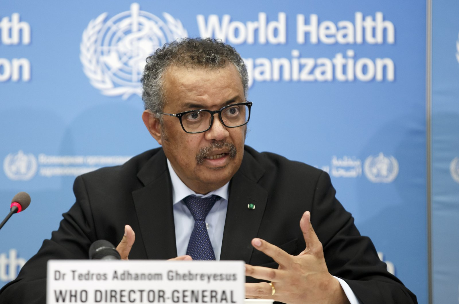 Tedros Adhanom Ghebreyesus, Director General of the World Health Organization (WHO), addresses a press conference on COVID-19 at the World Health Organization headquarters, Geneva, Feb. 24, 2020. (AP Photo)