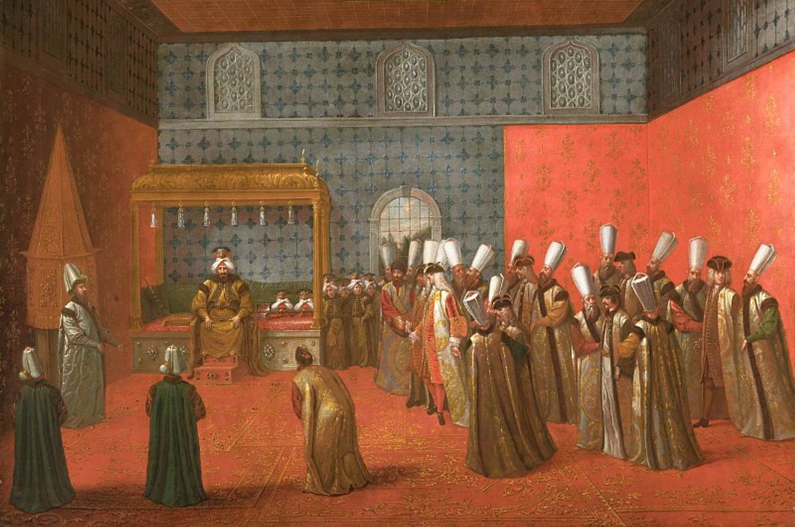 A painting by Flemish French painter Jean Baptiste Vanmour depicting Sultan Ahmed III receiving Dutch ambassador Cornelis Calkoen at the Topkapı Palace in Istanbul in 1727.
