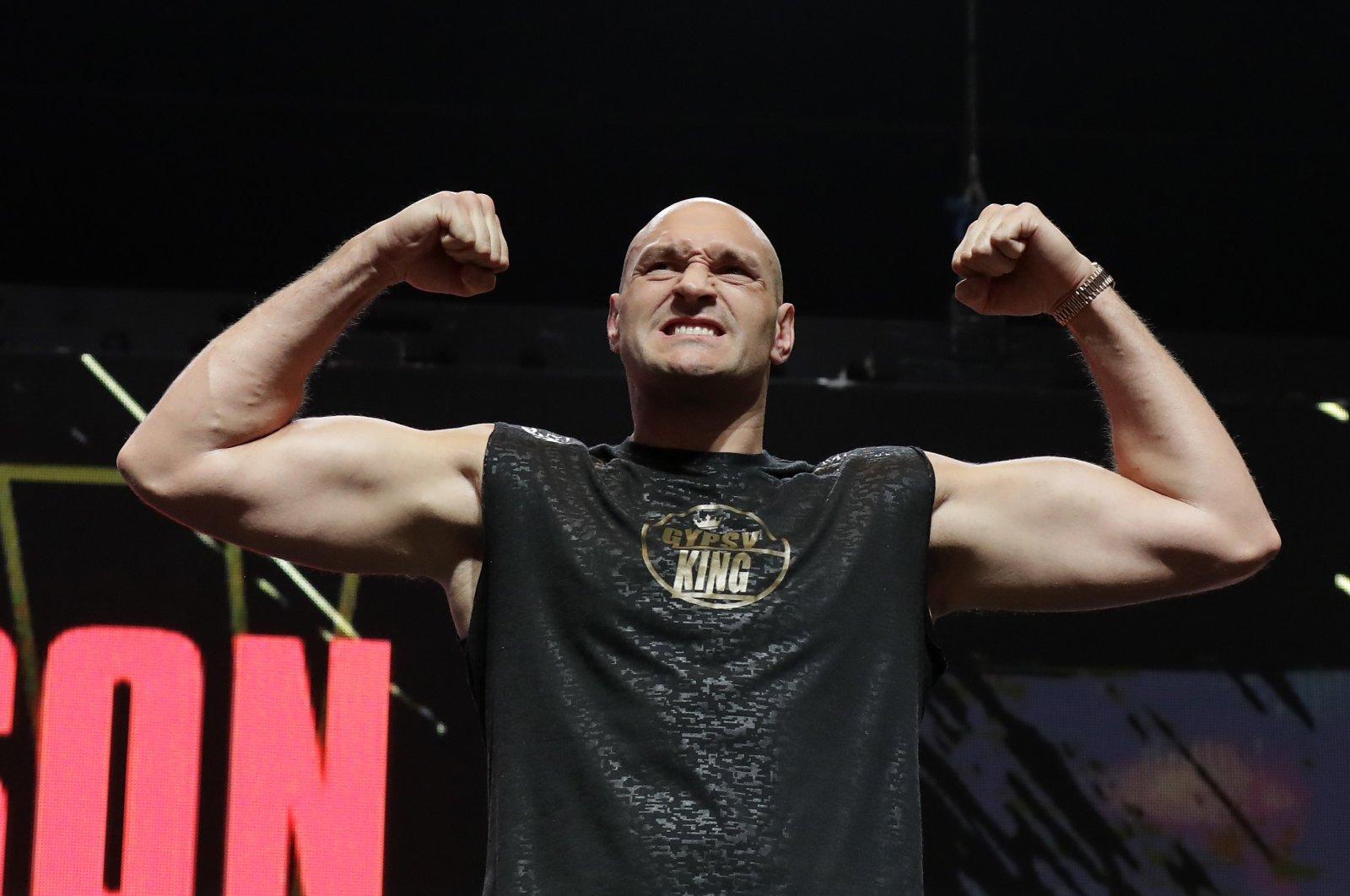 Tyson Fury before a WBC match against Deontay Wilder in Las Vegas, Nevada, U.S., Feb. 21, 2020. (AP Photo)