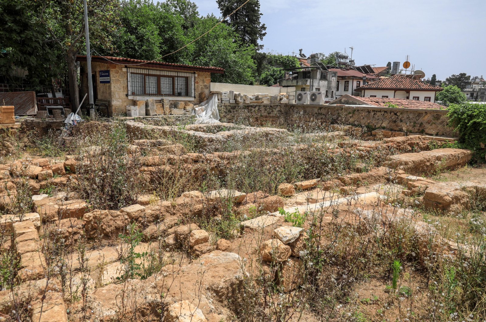 The graves were found during excavations to unearth the madrasah gate at Yivli Minare Mosque, Antalya, Turkey. (DHA Photo)