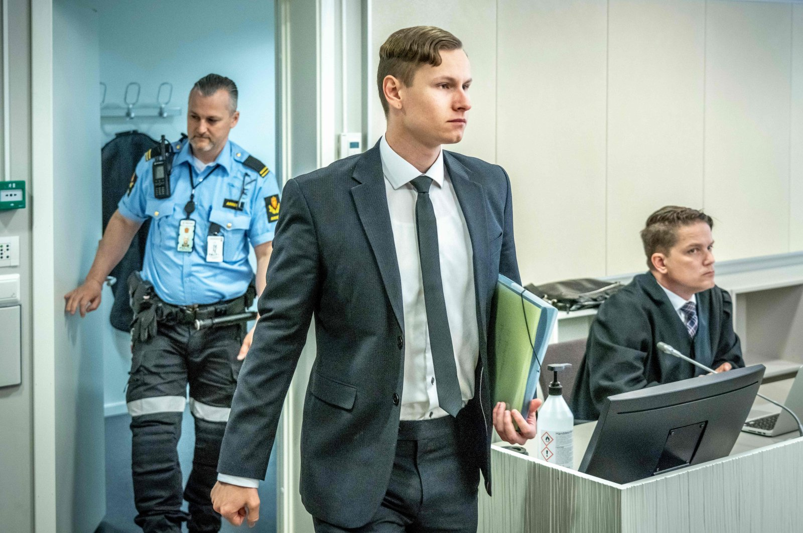 Terror charged, Norwegian Philip Manshaus enters the Asker and Baerum district court for the last day of his trial in Sandvika outside Oslo, Norway, May 20, 2020. (AFP Photo)