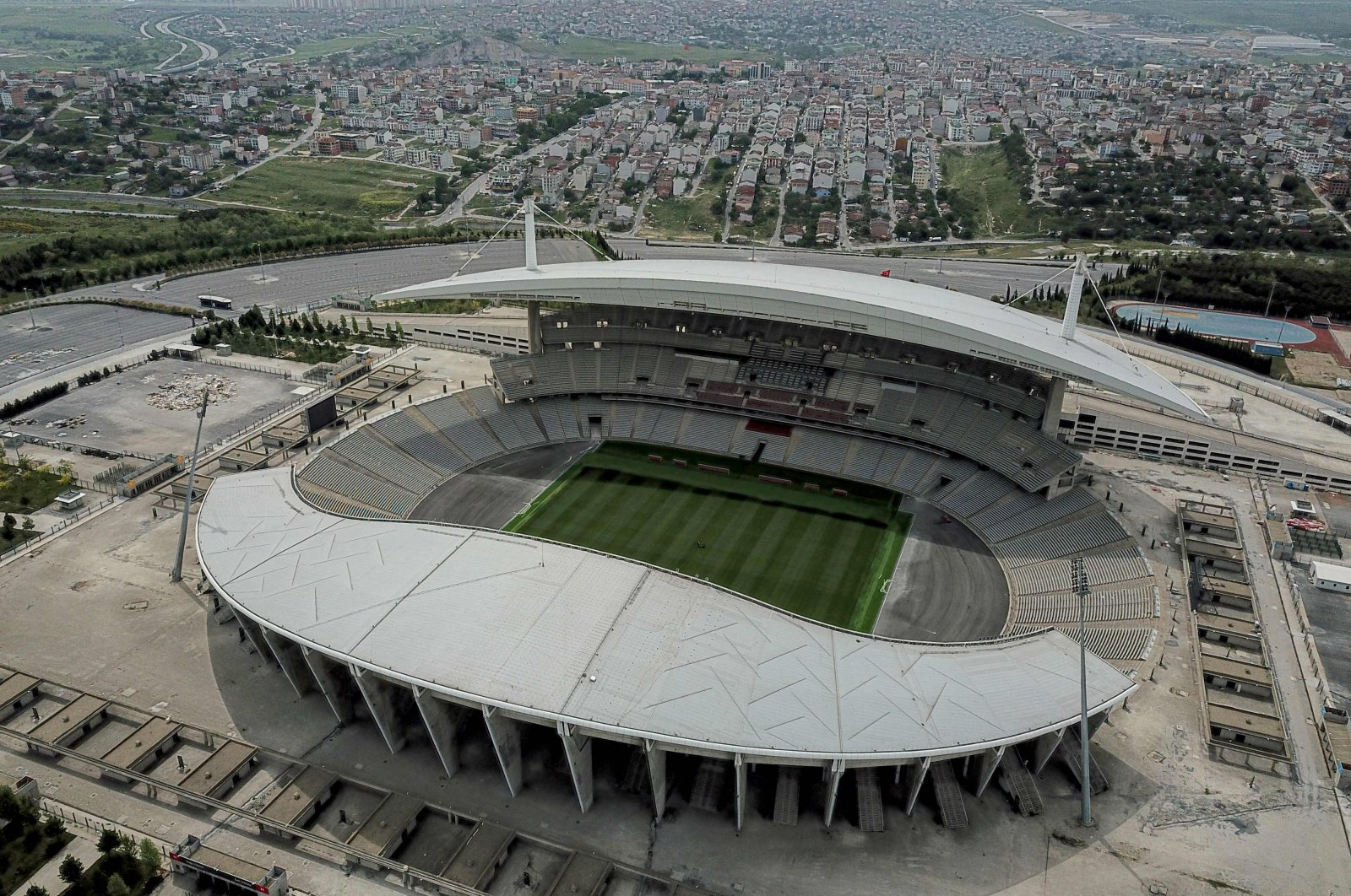 An aerial view shows Atatürk Olympic Stadium, slated to host the 2020 Champions League final, in Istanbul, Turkey, May 19, 2020. (AFP Photo)