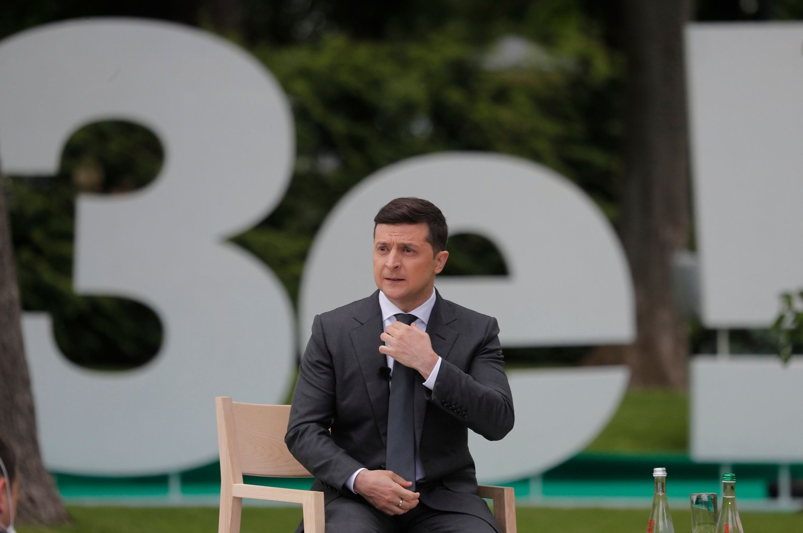 Ukrainian President Volodymyr Zelensky holds a press conference marking his first year in office at Kyiv's Mariinsky Palace on May 20, 2020. (AFP Photo)