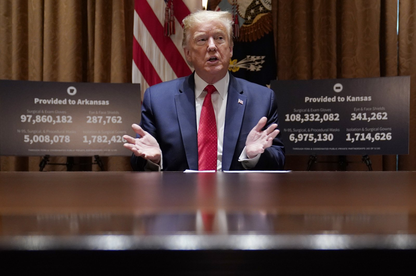 U.S. President Donald Trump speaks during a meeting with Arkansas Gov. Asa Hutchinson and Kansas Gov. Laura Kelly in the Cabinet Room of the White House, Wednesday, May 20, 2020, in Washington. (AP Photo)
