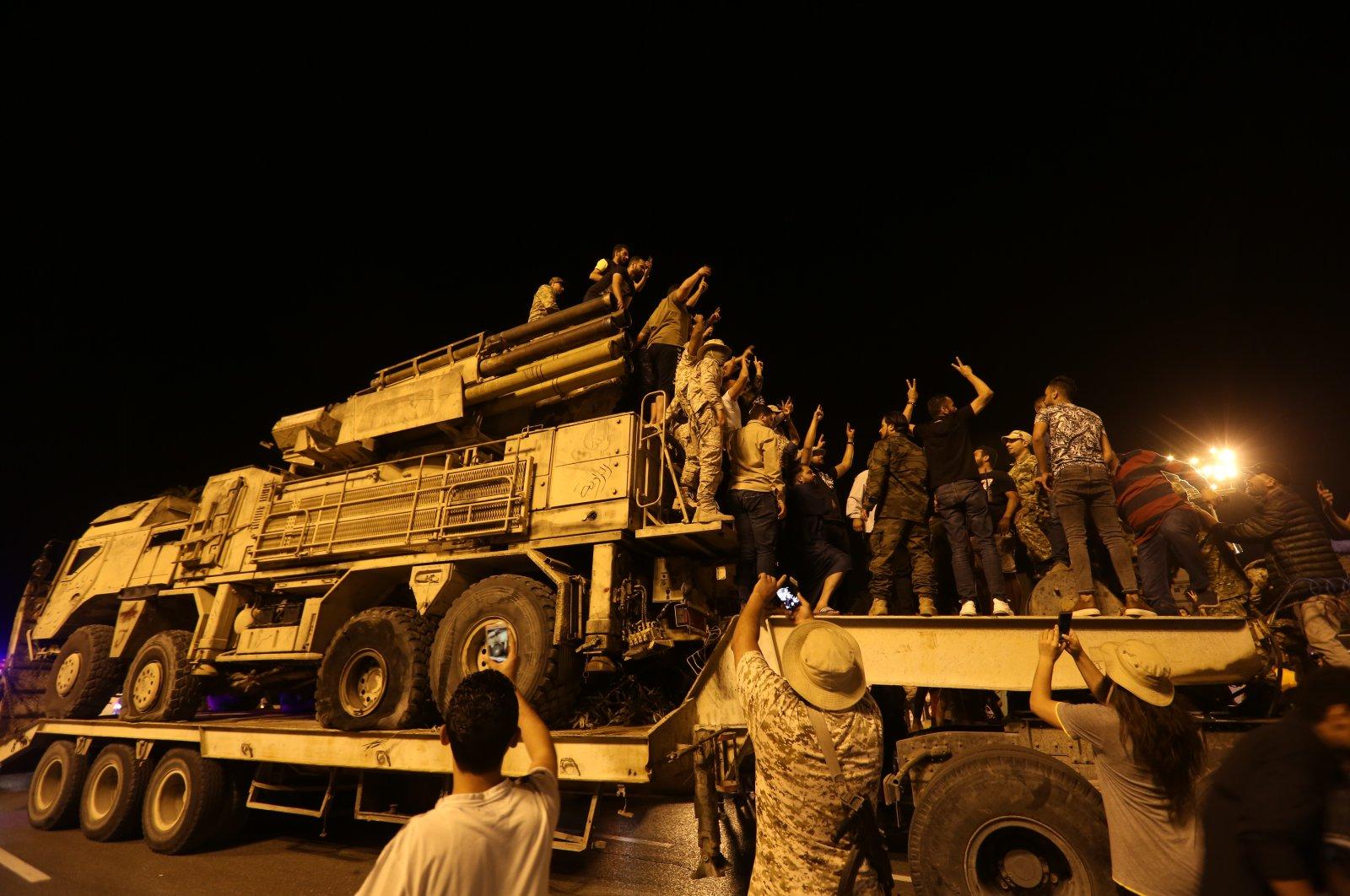 Members of the Libyan Army display Russian-made air defense systems confiscated at the Khalifa Haftar-held al-Watiya air base on the streets of Tripoli, Libya, May 20, 2020. (AA Photo)