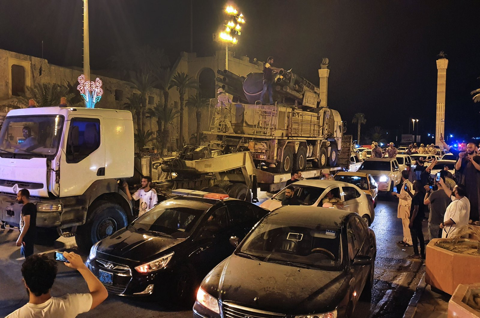 Forces loyal to Libya's U.N.-recognized Government of National Accord (GNA) parade a Pantsir air defense system truck in the capital Tripoli, Libya, May 20, 2020. (AFP Photo)