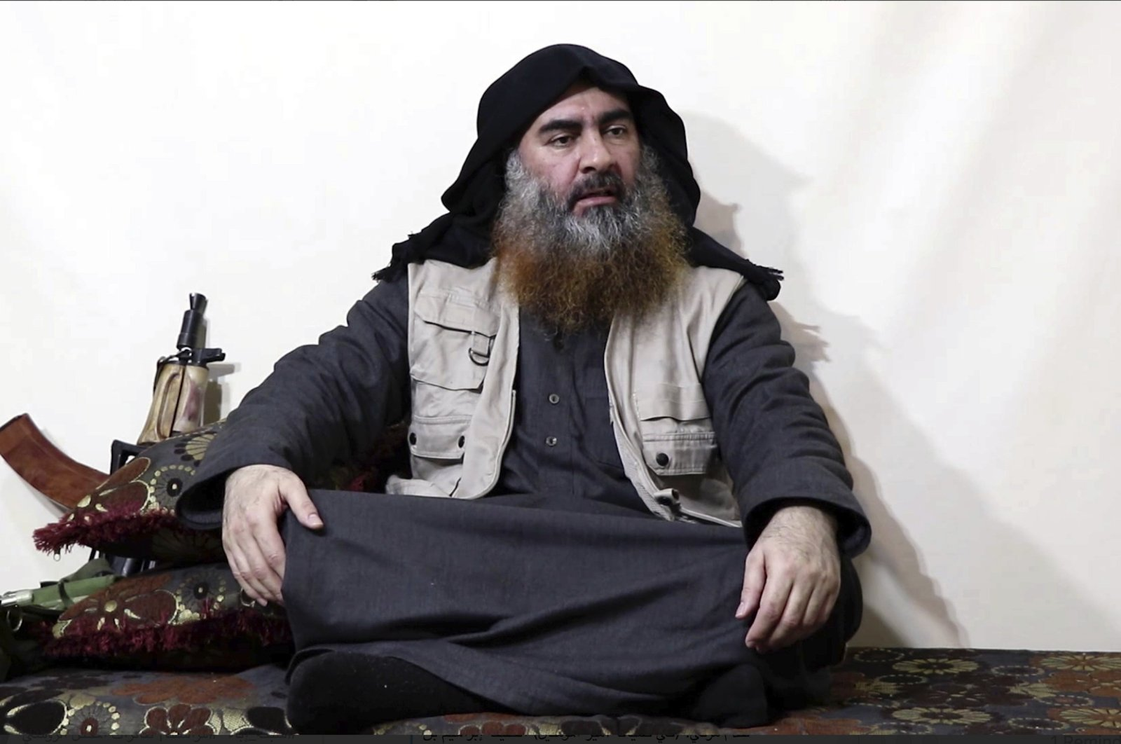 This file image made from video posted on a militant website on April 29, 2019, purports to show the leader of Daesh, Abu Bakr al-Baghdadi, being interviewed by his group's Al-Furqan media outlet. (AP Photo)